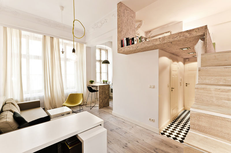 This small apartment is just 312 square feet, and it includes a lofted bedroom.
