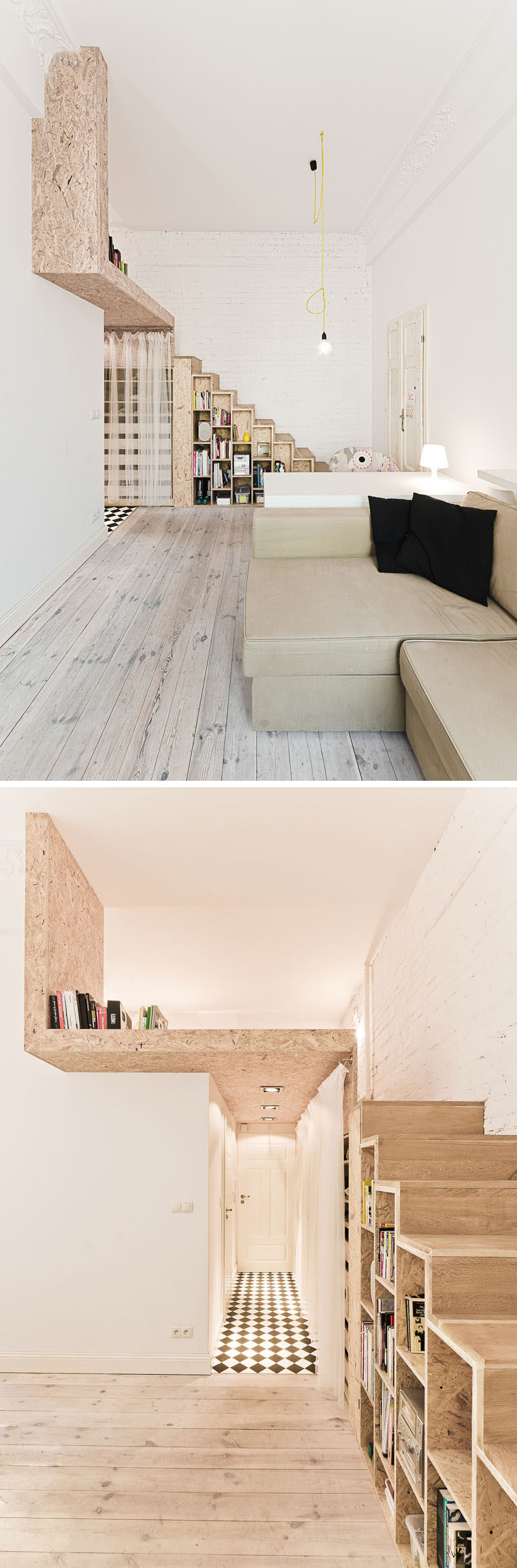 In this small apartment, these wooden stairs with storage lead to a lofted bed.