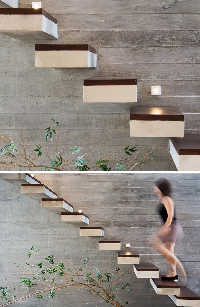 18 Examples Of Stair Details To Inspire You // These Floating Concrete  Stairs Are Topped