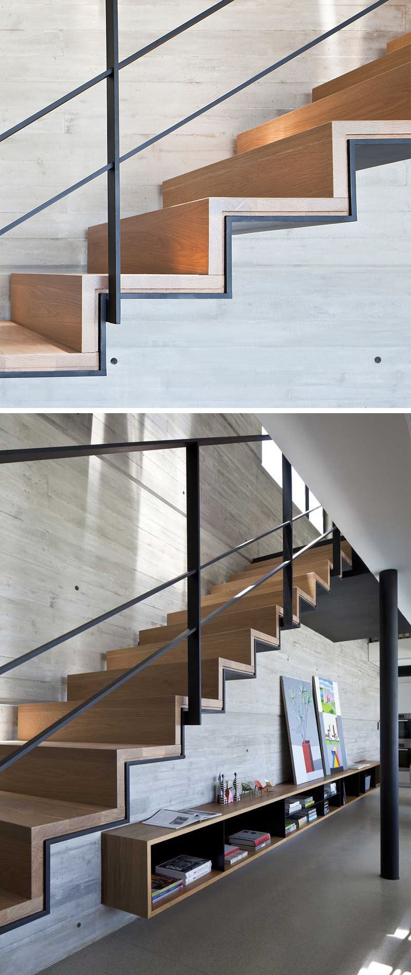 18 Examples Of Stair Details To Inspire You // These stairs are a combination of wood and steel, and are perfect for an industrial look, especially when paired with concrete.
