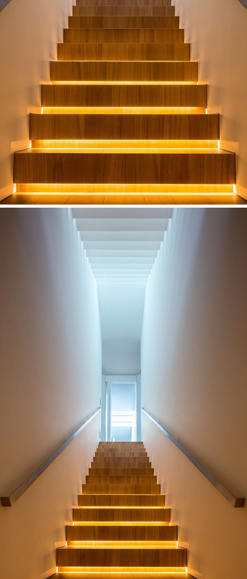 18 Examples Of Stair Details To Inspire You // These wooden stairs with hidden lighting, light up from underneath to ensure youll never miss a step again.