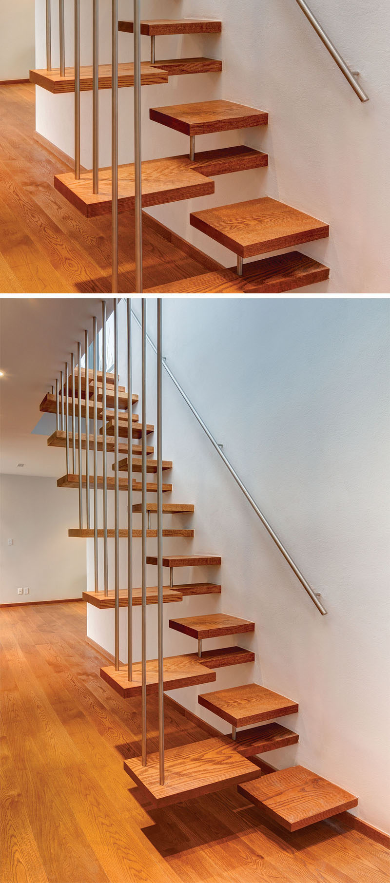 18 Examples Of Stair Details To Inspire You // If youre not careful, these wooden stairs could be a bit confusing.