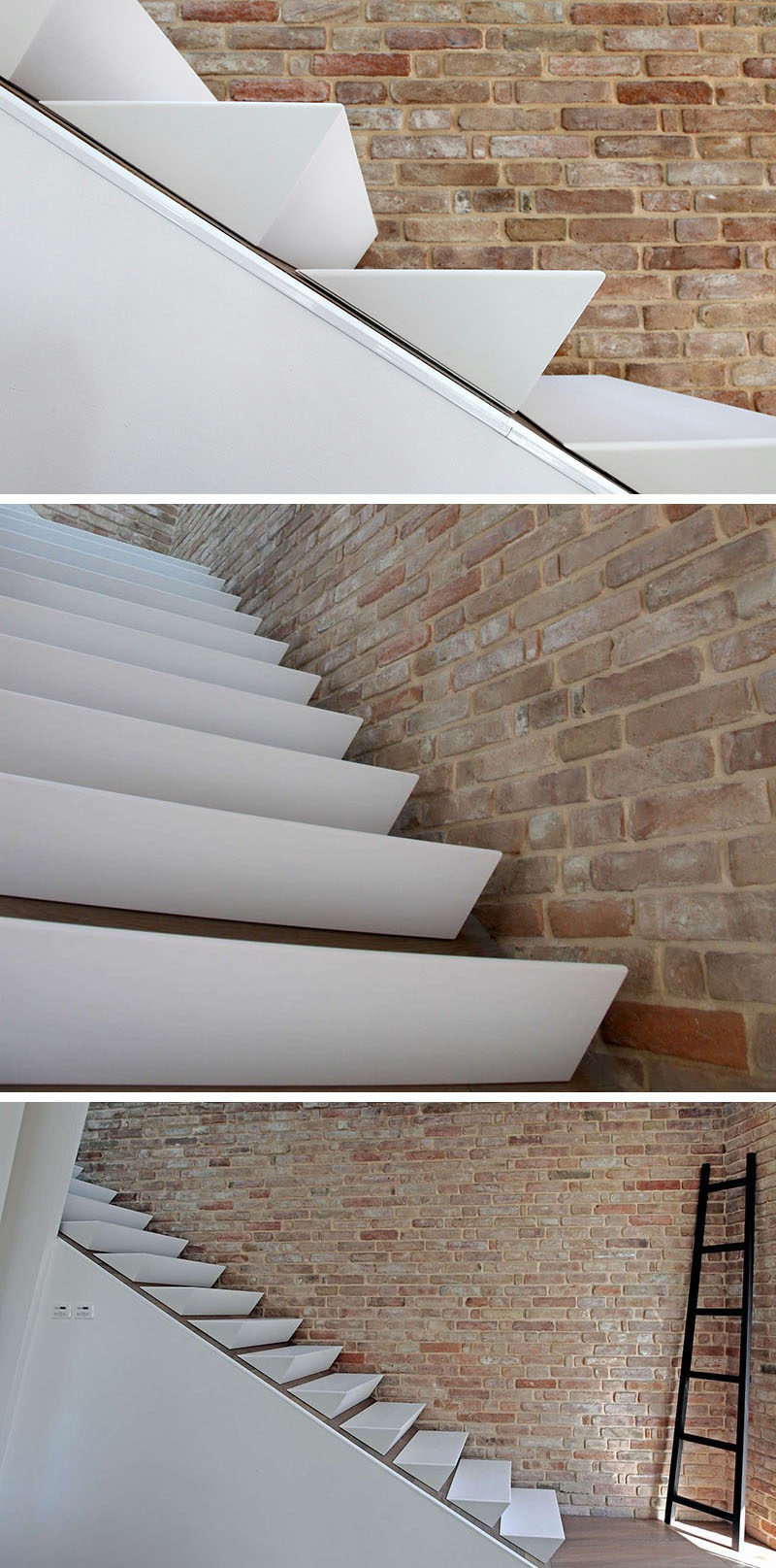 18 Examples Of Stair Details To Inspire You // These wedge-shaped stairs are made of white corian