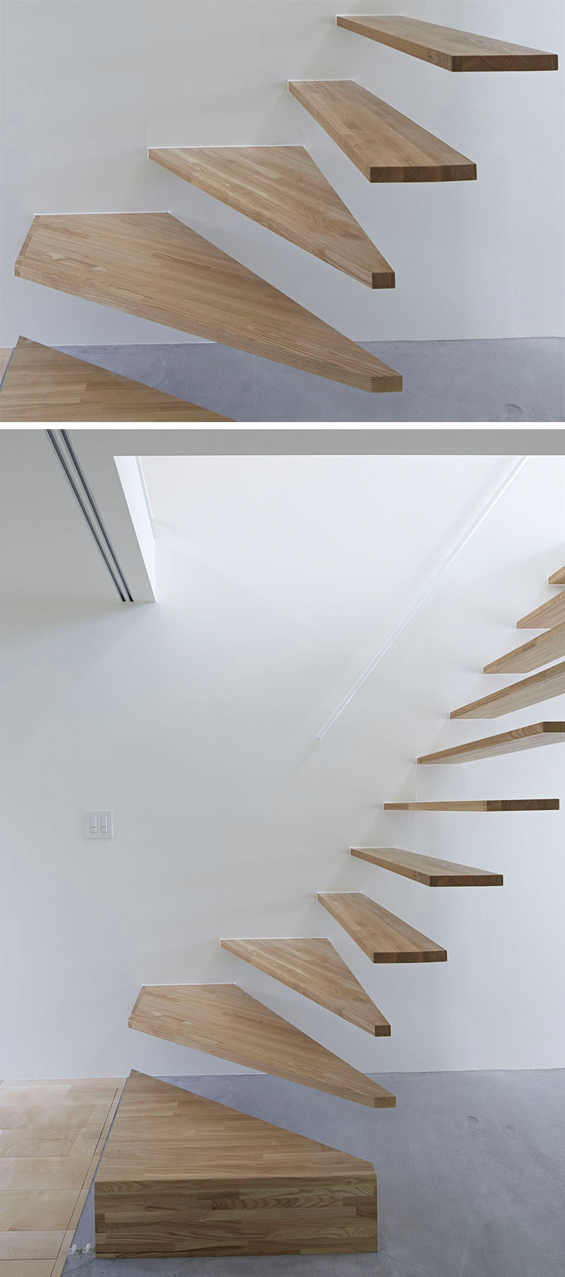 18 Examples Of Stair Details To Inspire You // These light wood floating stairs break up the white walls and concrete floor.