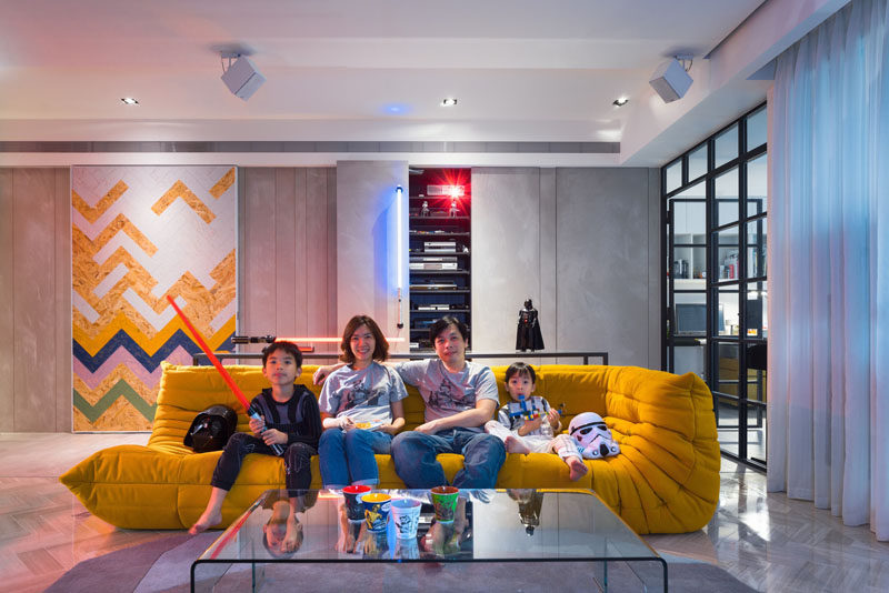 This apartment, designed by White Interior Design, is for a family with two young children, that have a love for Star Wars and wanted to have a space to reflect that.