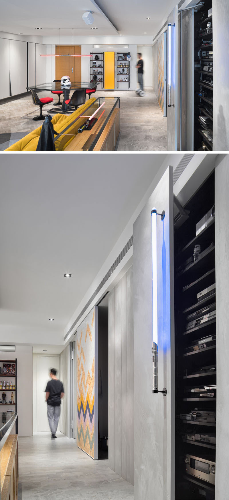 In this Star Wars inspired apartment, a lightsaber was used a handle to open the cabinet.
