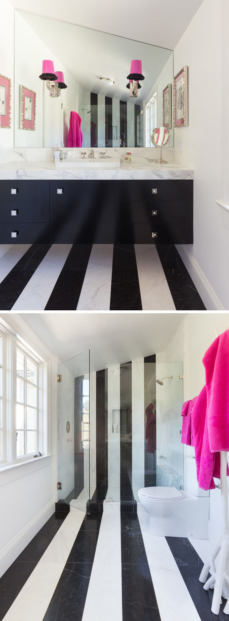 7 Examples Of Striped Floors In Contemporary Homes // The black and white striped flooring in this bathroom travels from under the vanity, across the floor, and up into the wall of the shower.