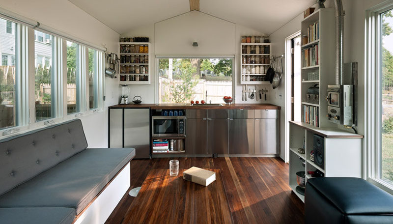 This tiny home measures in at just 210 square feet, and has everything you need, a kitchen, living room, music studio/office, bed and bathroom.