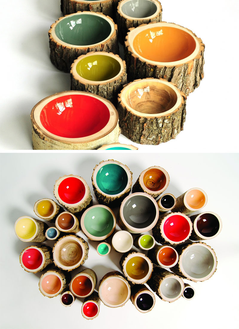 9 Ideas For Including Tree Stumps In Your Home Decor // These colorful bowls are made from reclaimed trees that have either fallen on their own or been cut down due to infrastructure, and have then been turned and finished by the Loyal Loot.