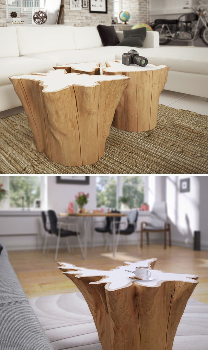 9 Ideas For Including Tree Stumps In Your Home Decor // These coffee tables are made from salvaged western red cedar and organic resin to give the old wood a new modern twist.