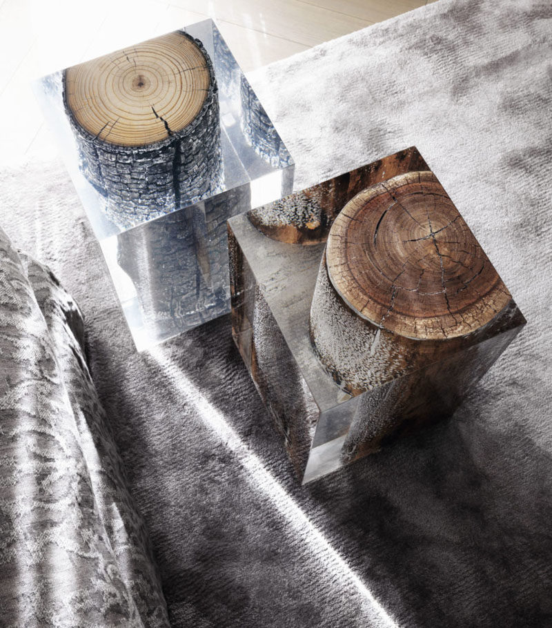 9 Ideas For Including Tree Stumps In Your Home Decor // These tree stumps have been suspended in an acrylic cube to increase surface area and make more space for putting things on... and because it makes them look cool.