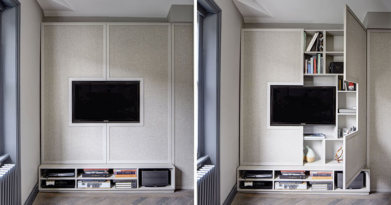 TV Wall Design Idea ? Hide Shelves With Large Custom-Made Cabinet Doors