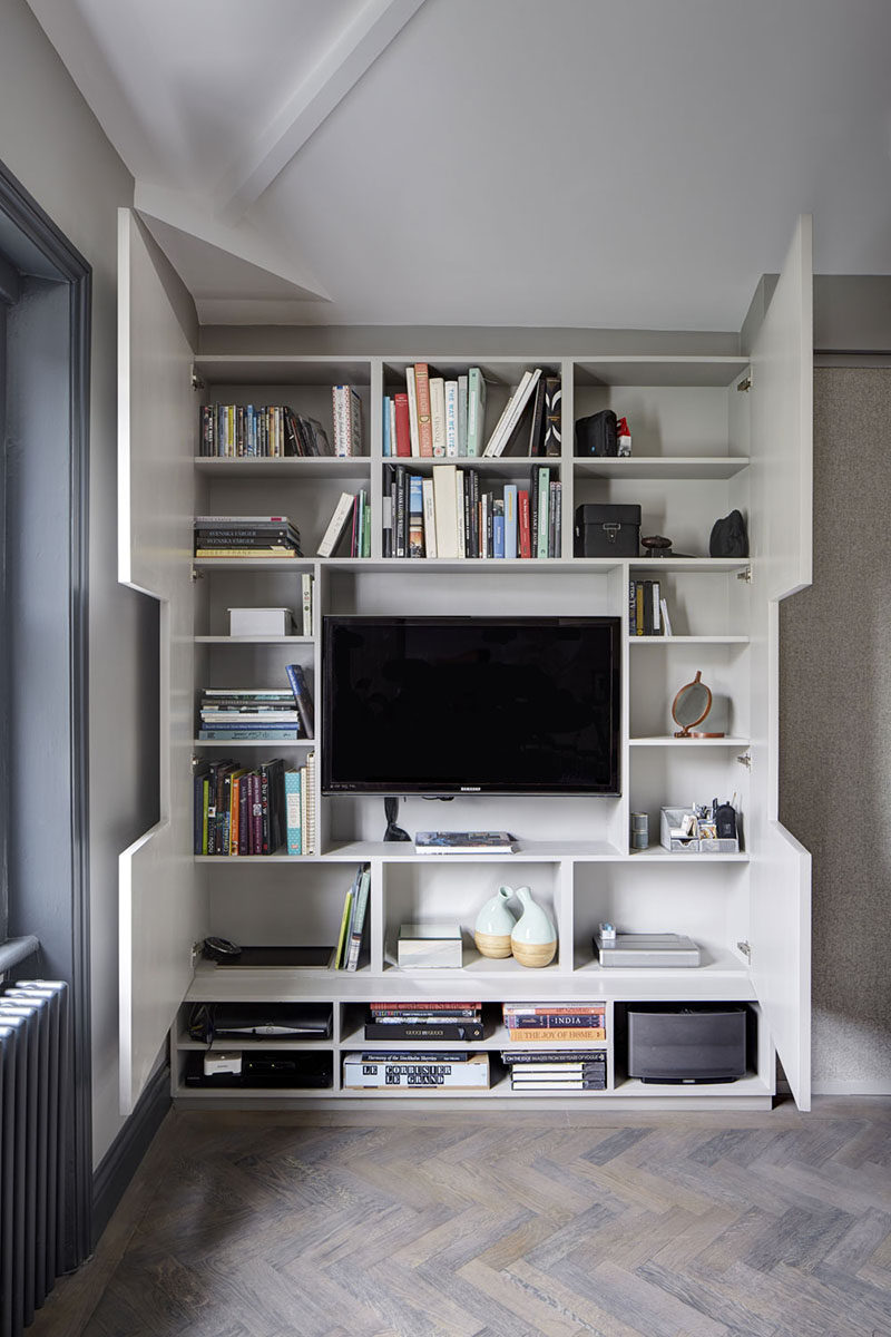 Tv Wall Design Idea Hide Shelves With Large Custom Made