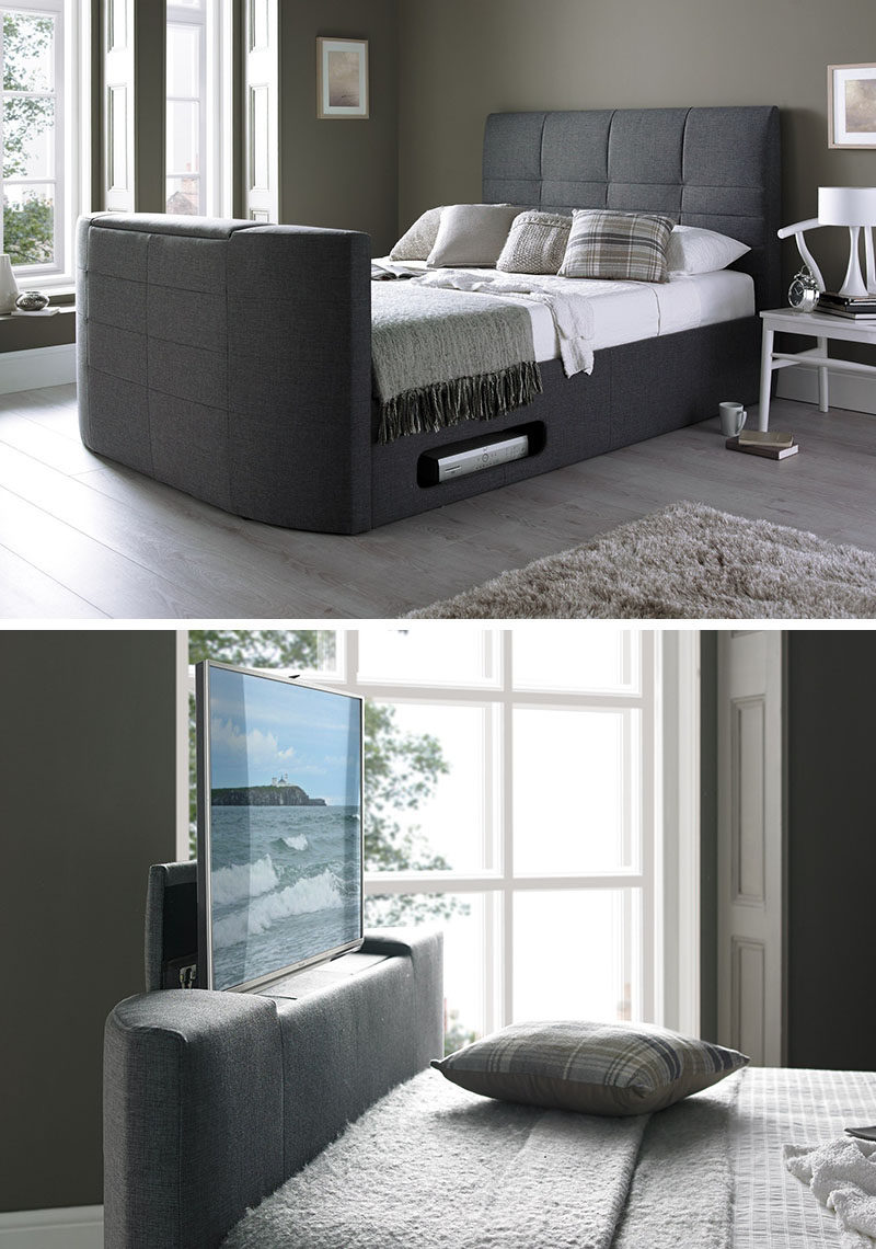 8 Ways To Include A TV In The Bedroom // Hide it inside the bed with a bed frame designed just for watching tv and sleeping.
