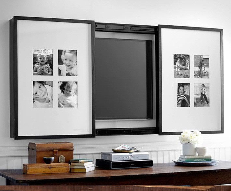8 Ways To Include A TV In The Bedroom // Hide it behind some of your favorite photos of some of your favorite people.