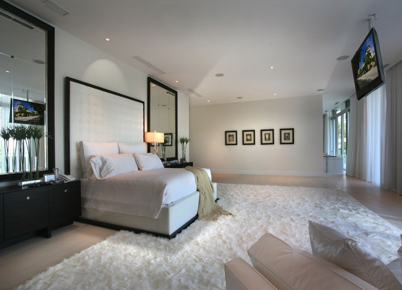 8 Ways To Include A TV In The Bedroom // Secure it to the ceiling for easy relaxed viewing.