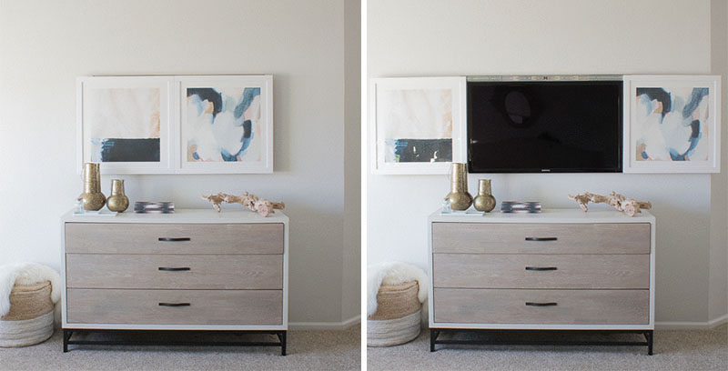 8 Ways To Include A TV In The Bedroom // Create an art piece that opens up to reveal the TV at the end of the bed.