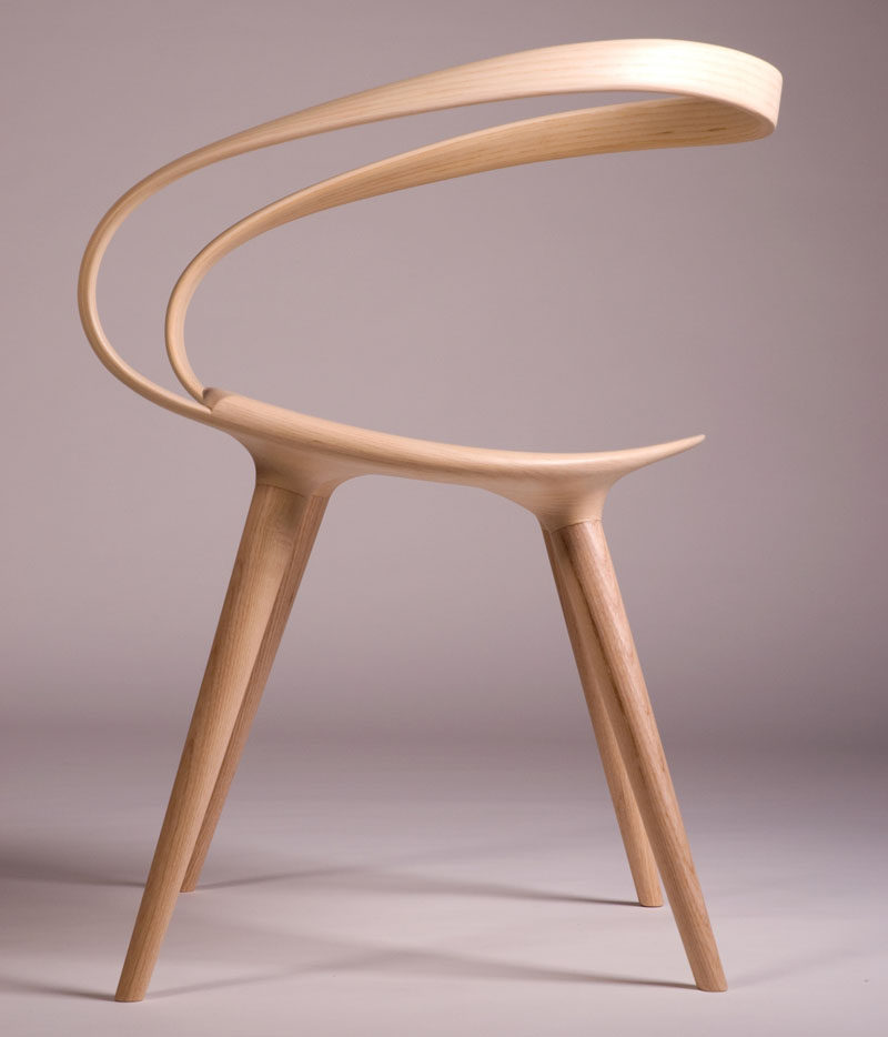 the velo chair uses a single piece of bent wood as the backrest contemporist