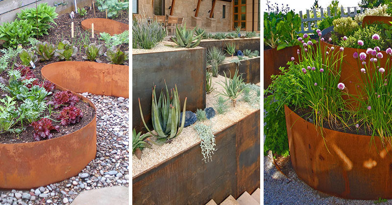 9 Ideas For Including Weathering Steel Planters In Your Garden.  #SteelGardenPlanters #WeatheredSteelPlanters #CortenSteelPlanters #Landscaping #GardenIdeas #PlanterIdeas