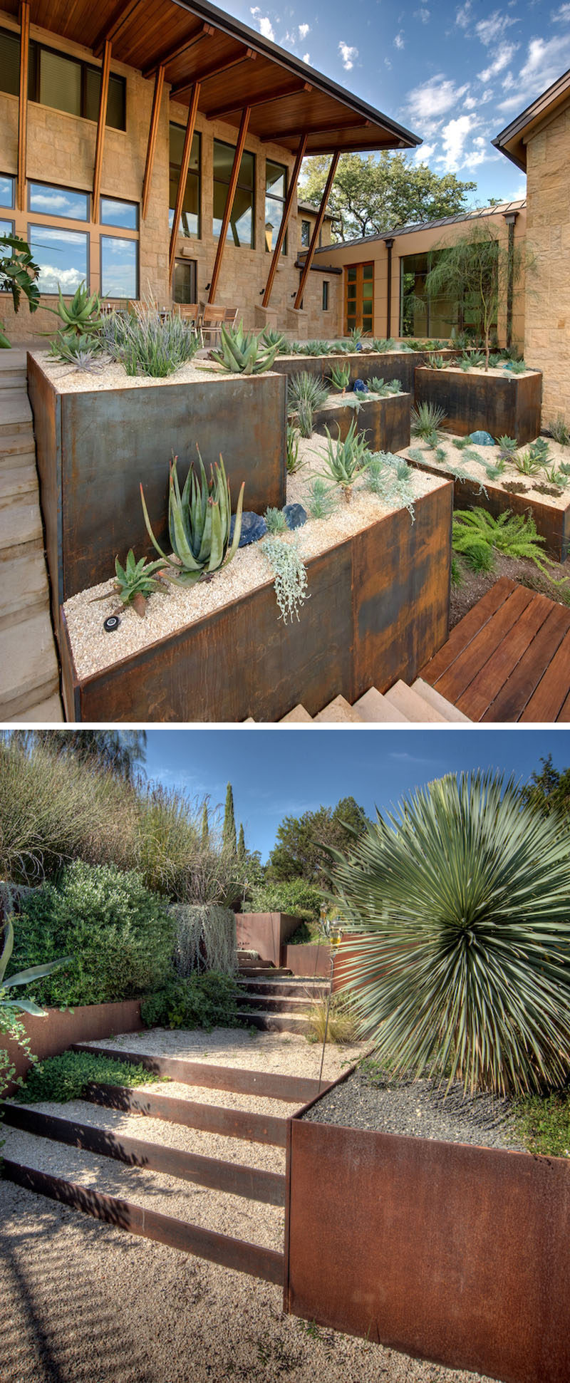 9 ideas for including weathering steel planters in your for Low maintenance year round plants