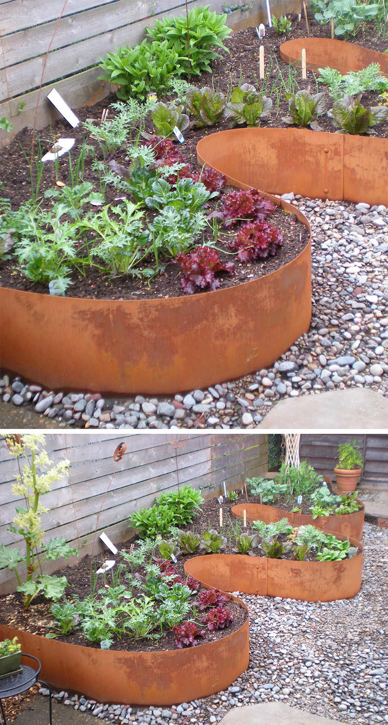 9 Ideas For Including Weathering Steel Planters In Your Garden // These planters made from curved sheets of weathered steel, add dimension and create extra space for more plants without being boxy.  #SteelGardenPlanters #WeatheredSteelPlanters #CortenSteelPlanters #Landscaping #GardenIdeas #PlanterIdeas