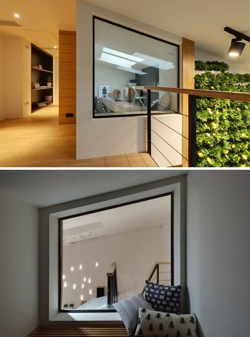 15 Awesome Examples Where Windows Follow The Roofline // This window sits inside the home and the angle of the top of it runs parallel to the angle of the roof making for a perfect reading or relaxation nook.