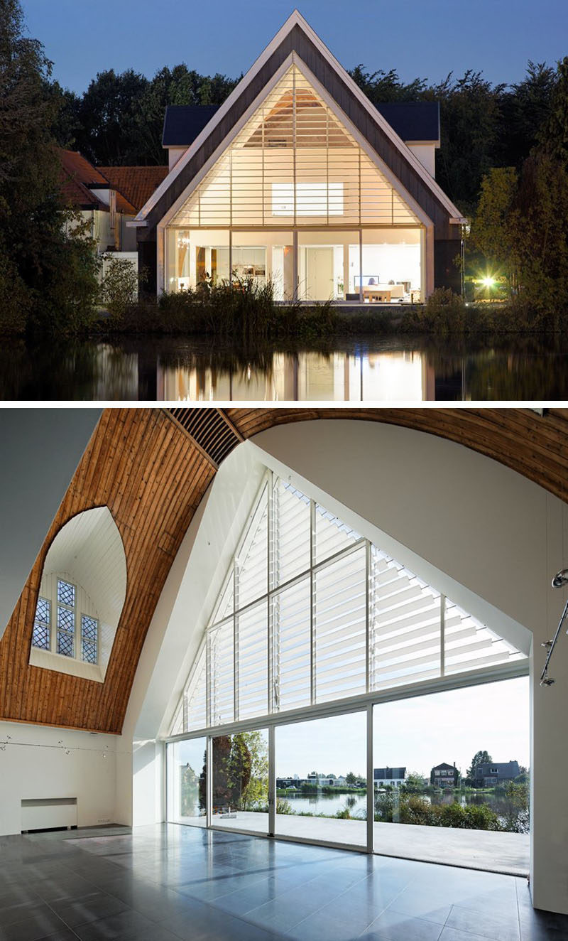 15 Awesome Examples Where Windows Follow The Roofline // In the redesign of this church-turned-home, the back wall was taken out and replaced with an entire window that follows the roof line all the way to the bottom of the house.