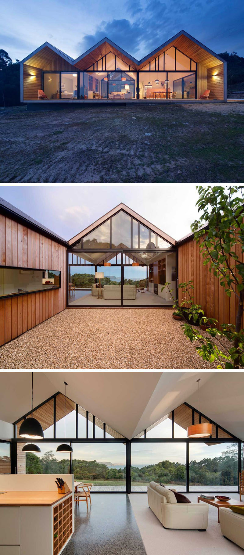 15 Awesome Examples Where Windows Follow The Roofline // The upper windows of this Australian home follow the lines of the roof and let more light shine into the parts of the home where the family spends most of their time, helping keep the space bright at all times of the day.