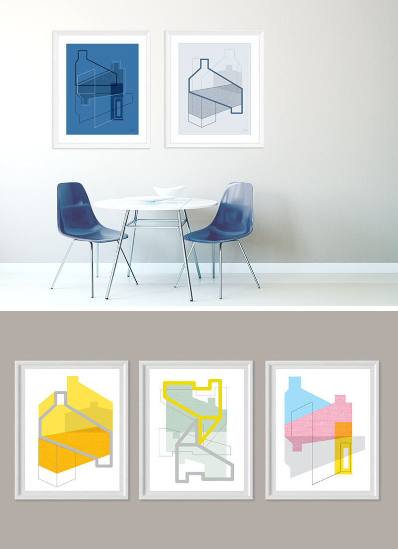 WALL DECOR IDEA --- Create A Conversation Starter By Hanging Architectural Art Prints On Your Wall