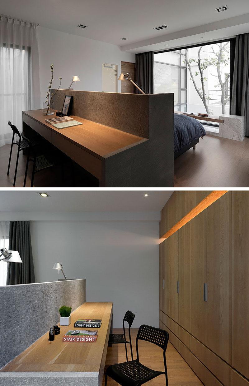 Bedroom design idea a desk built into the back of the - Mens bedroom ideas for apartment ...