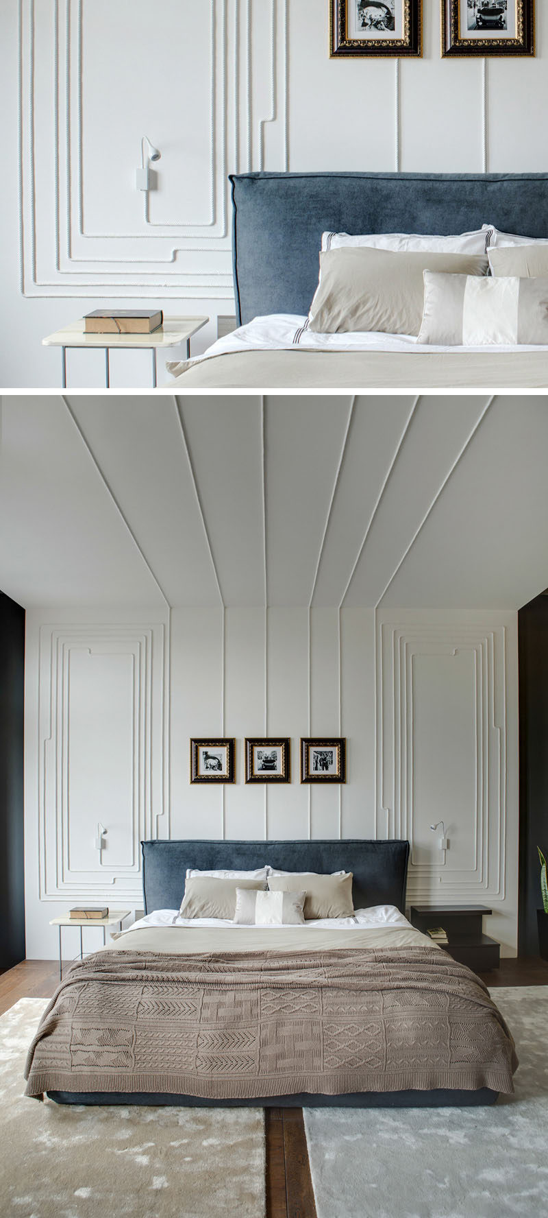 Electrical cords were used to create an artistic wall in this bedroom.