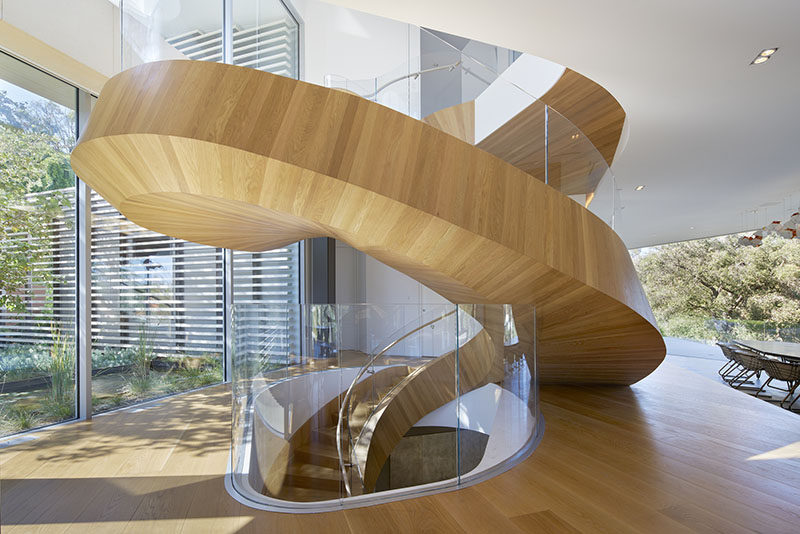 An Eccentrically Helical Stair Functions As A Primary Organizing Element  And A Sculptural Gesture Upon Entry Into The House. On The Ground Floor, ...