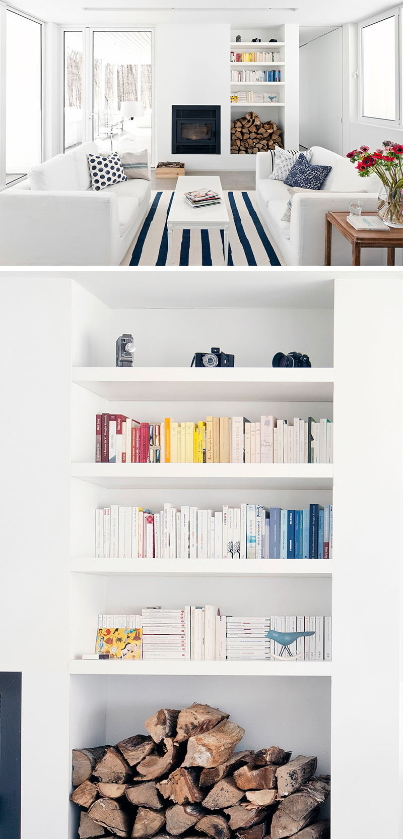 9 Ideas for Creating a Stylish Bookshelf // Add pops of color --- Adding a few touches of color to an all white display can make a big impact and help make your shelves stand out.