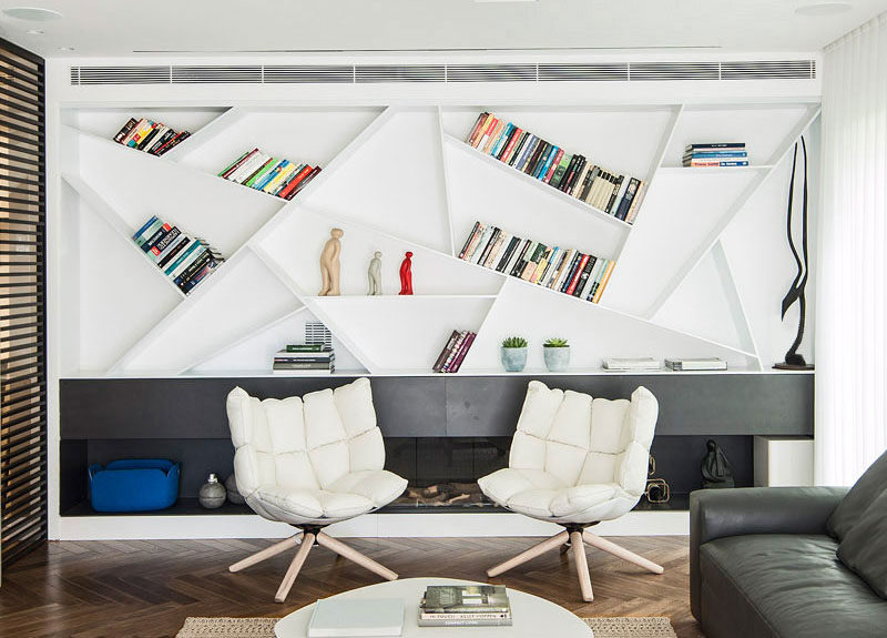 Design Idea For Shelves ? Angle Your Bookshelves For A Unique Creative Design