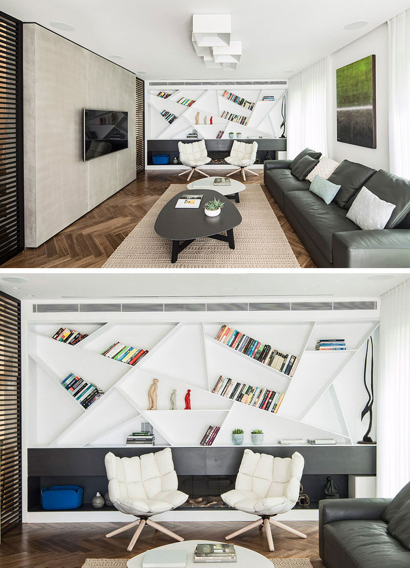 Design Idea - Angle Your Bookshelves For A Unique Artistic Design
