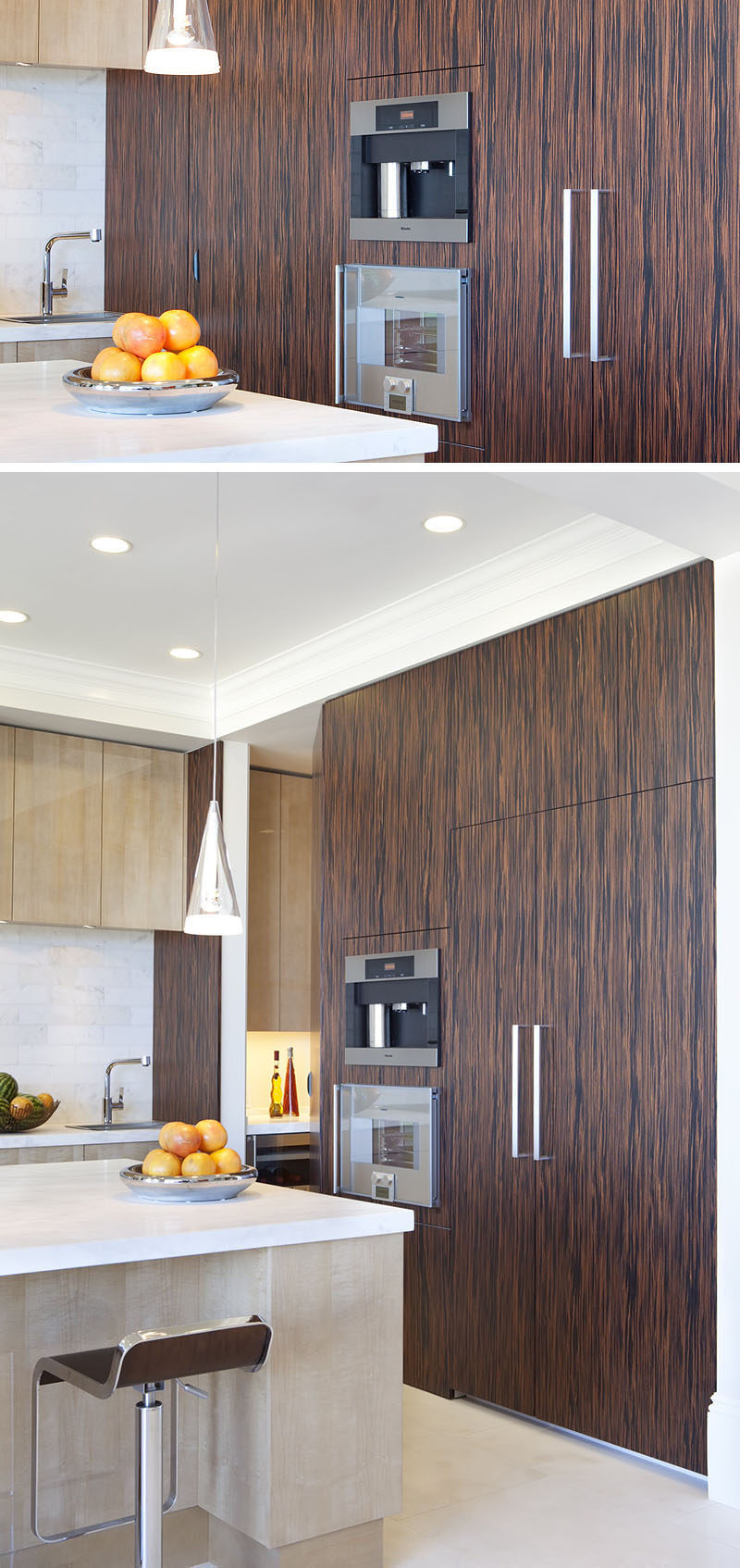 9 Examples Of Kitchens With Built-In Coffee Machines // Surrounded by wood paneling, this built-in coffee machine looks clean and contemporary.