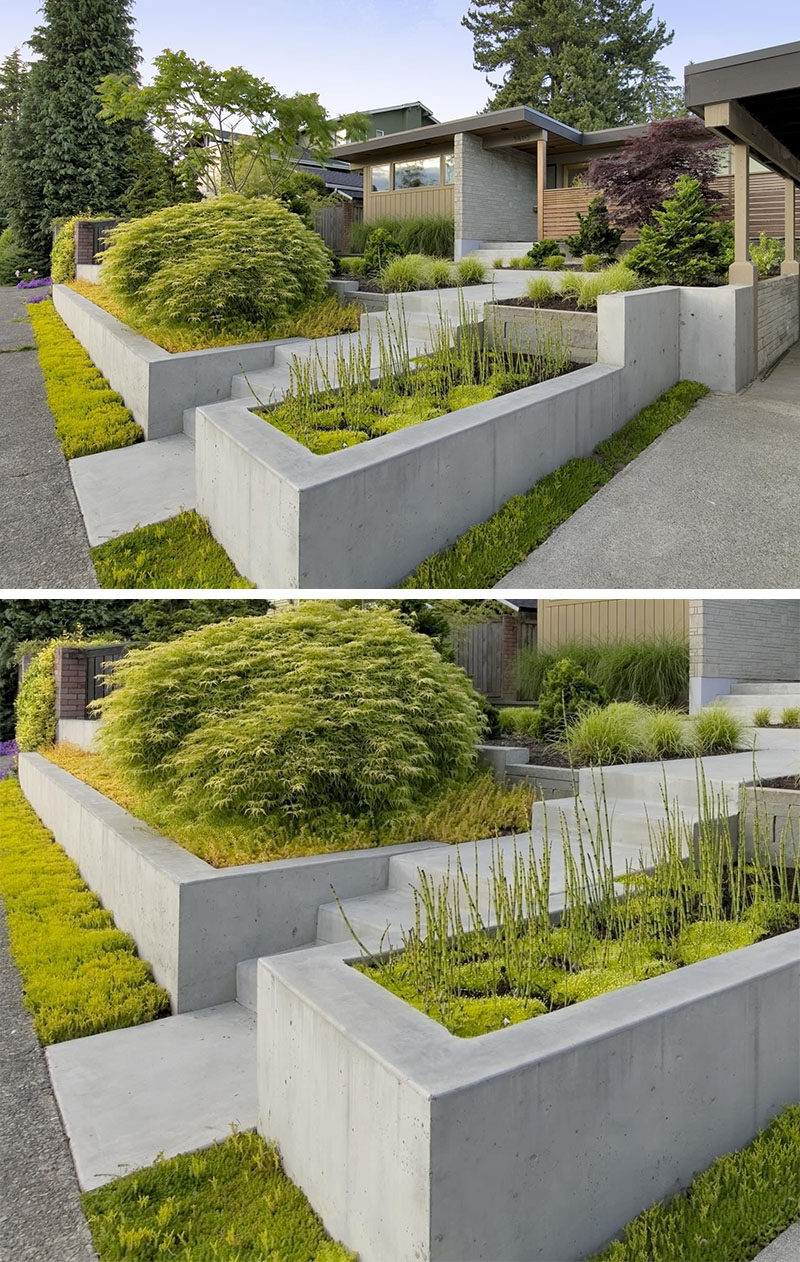 10 Inspirational Ideas For Including Custom Concrete Planters In Your Yard // These built in concrete planters welcome people to the home and add color and texture to the exterior.