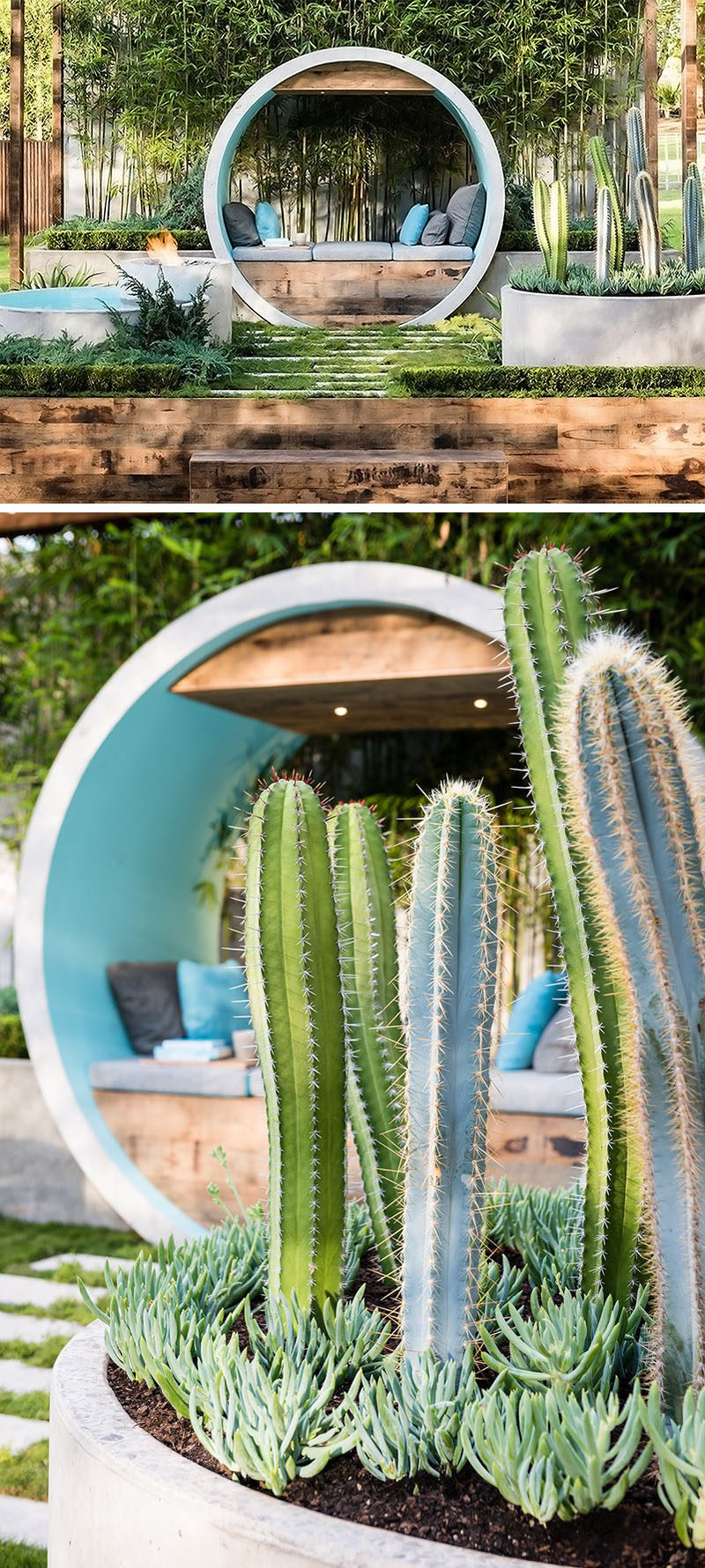 10 Inspirational Ideas For Including Custom Concrete Planters In Your Yard // Concrete pipes were used to created designated planters in this garden show entry.