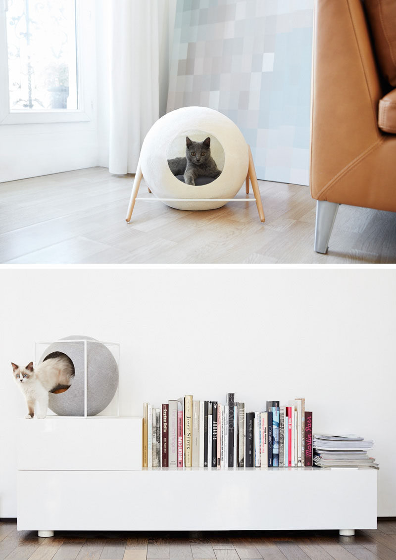 11 Cat Caves That Prove Cat Beds Can Be Stylish // Geometric cat beds add style to your interior and provide your feline friend with a comfy spot to hang out in.
