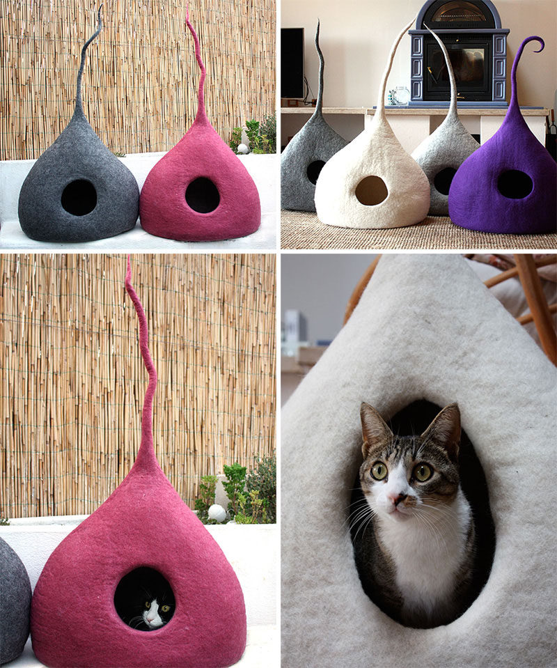11 Cat Caves That Prove Cat Beds Can Be Stylish // These felted cat beds add a touch whimsy to your home and keep your cat from taking itself too seriously.