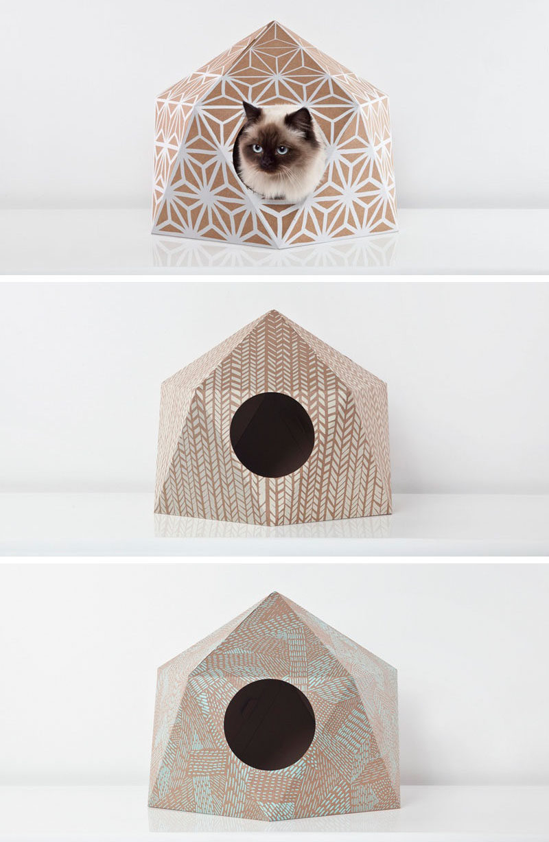 11 Cat Caves That Prove Cat Beds Can Be Stylish // Cardboard domes with fun patterns on them, offer your cat a safe and stylish spot to snooze.