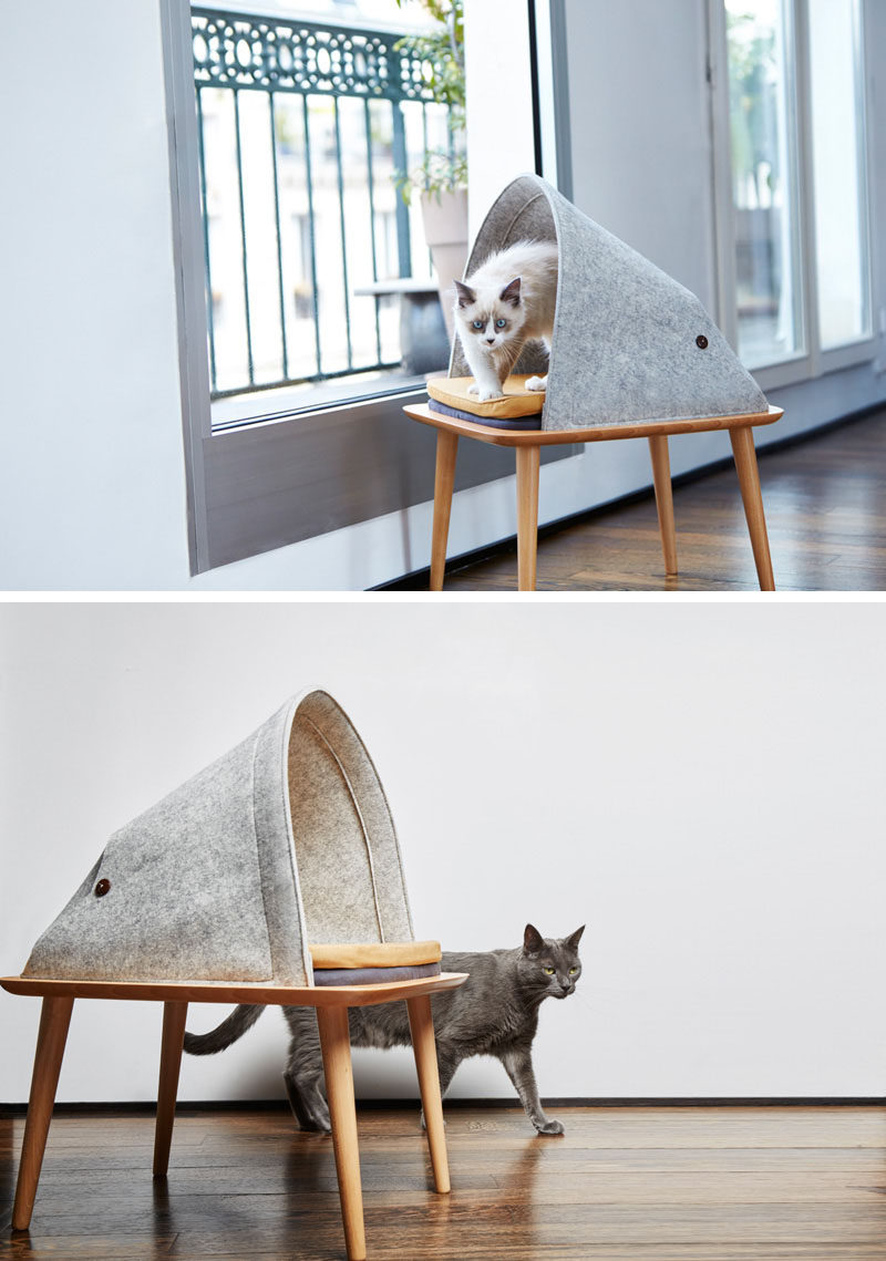 11 Cat Caves That Prove Cat Beds Can Be Stylish // This small piece of dedicated cat furniture, makes your cat feel comfortable being perched up higher than the ground, plus it looks good.