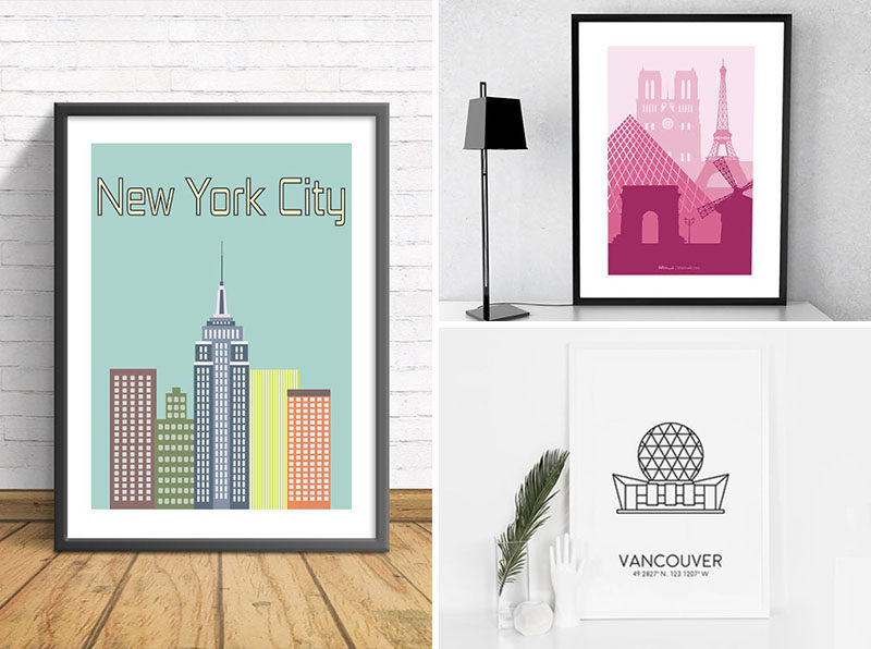 3f509fd8975 Decor Idea - Fill Your Walls With Art Prints Of Your Favorite Cities ...