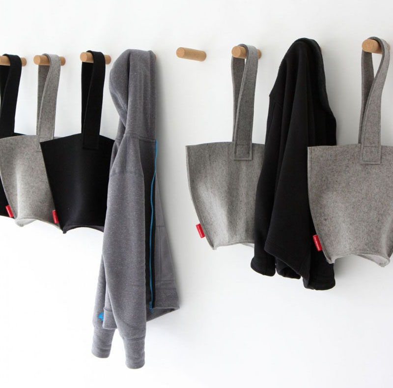11 Creative Coat Hooks To Keep Your Clothes And Bags Off The Floor // These simple hangers, made from cork, attach to the wall by means of a super strong magnet. #CoatHooks #WallHook #ModernWallHook