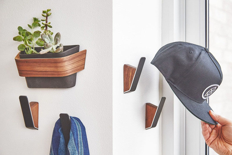 11 Creative Coat Hooks To Keep Your Clothes And Bags Off The Floor // Made from wood, leather, and aluminum, these sturdy hooks are made to hold everything from coats and jackets to book bags and purses. #CoatHooks #WallHook #ModernWallHook