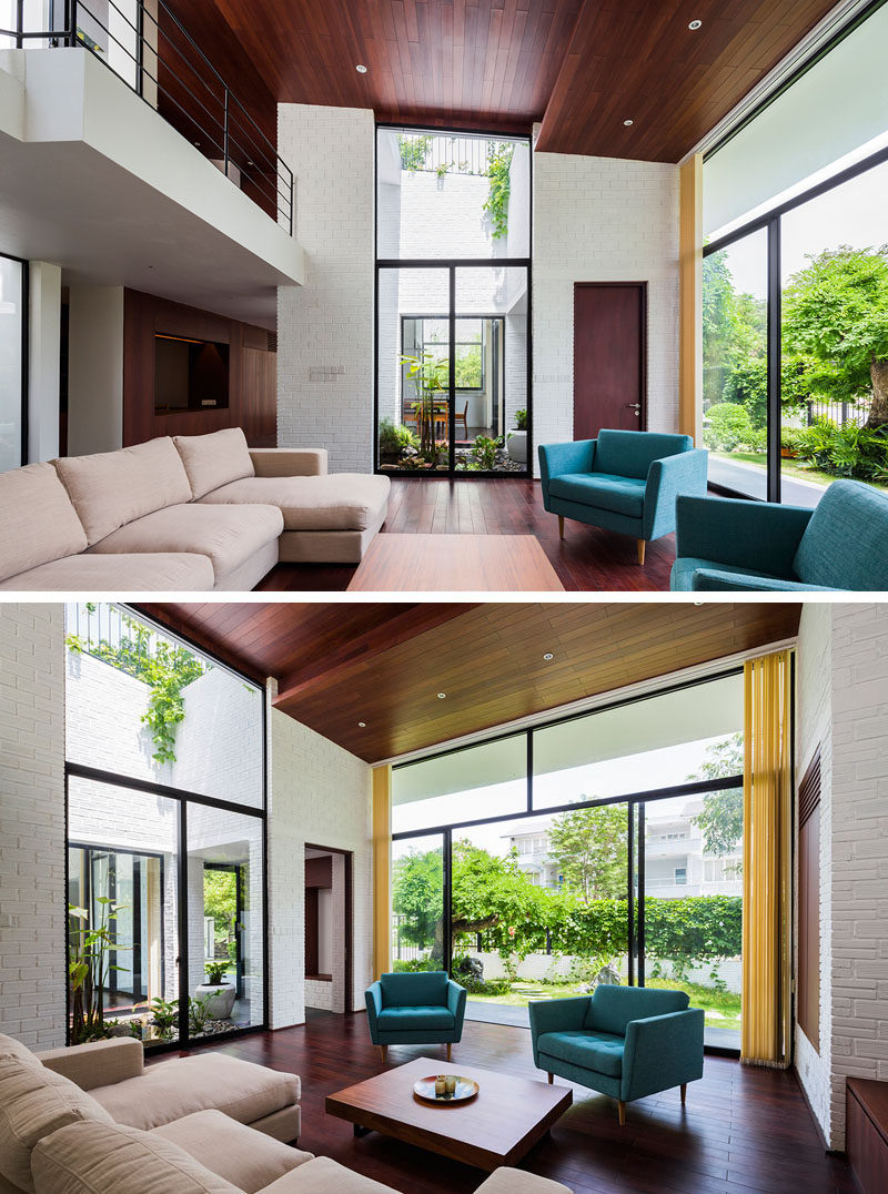 A void in the roof provides a green space that can be enjoyed from the living room.