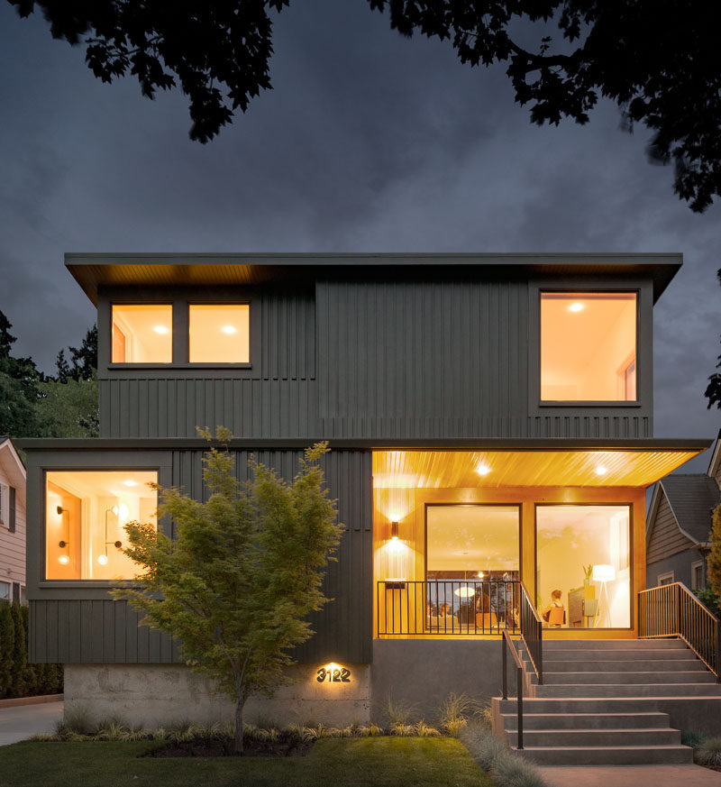 This Portland home has a brightly lit porch that welcomes you home.