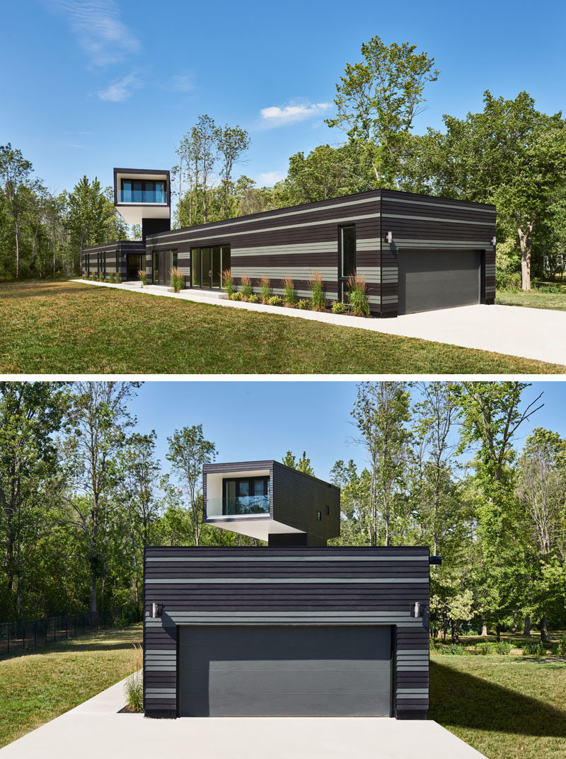 This Canadian home features a master bedroom tower that overlooks a green roof and has views of the lake.