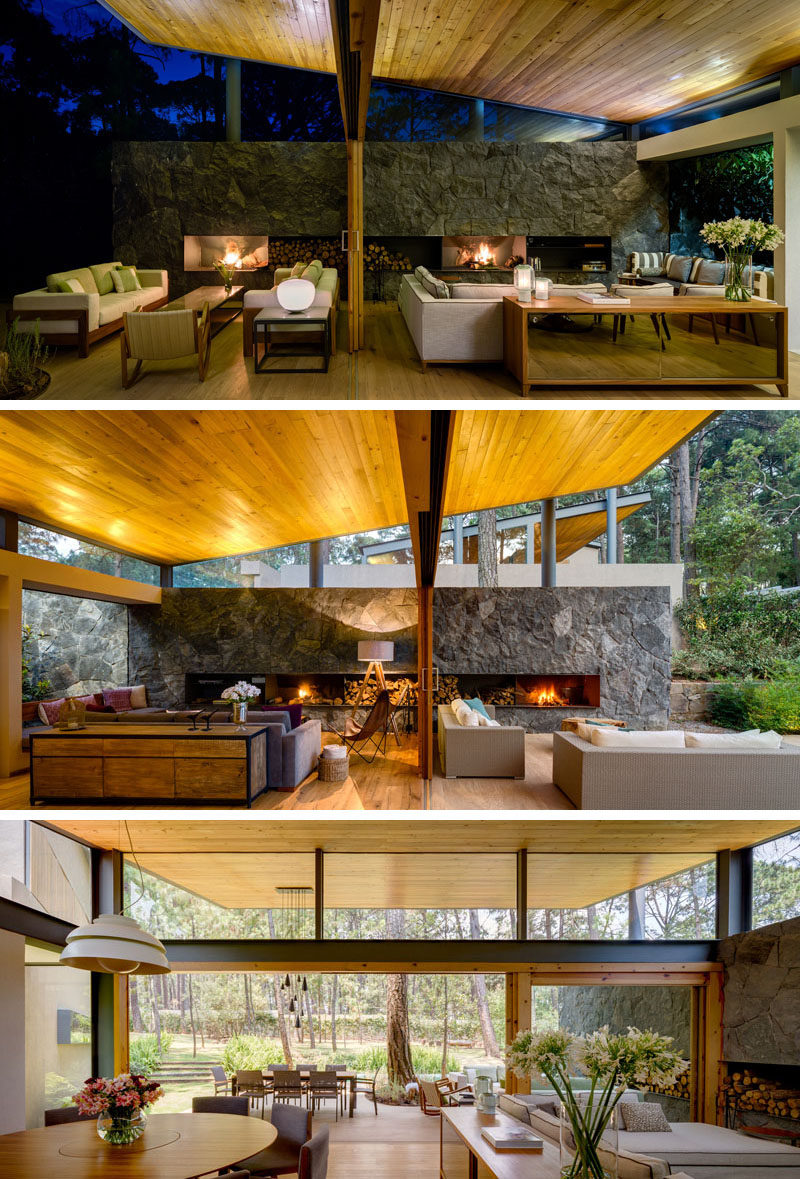 This home has been designed to exemplify indoor/outdoor living, with a large sliding door opening the spaces and making them one. Both spaces are almost symmetrical in their design.