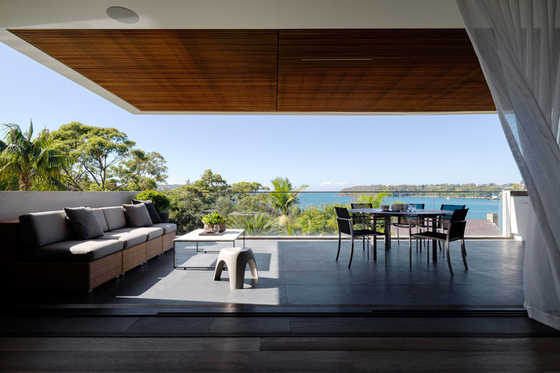 This Australian home has an outdoor covered lounge and dining area.